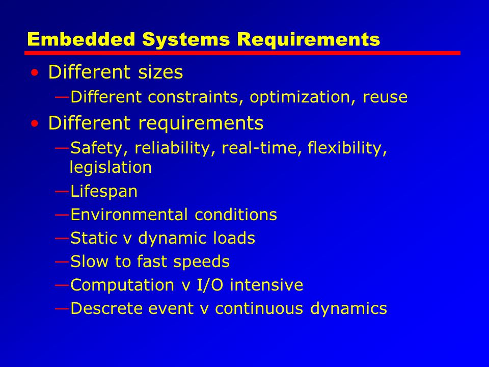 Embedded Systems Requirements