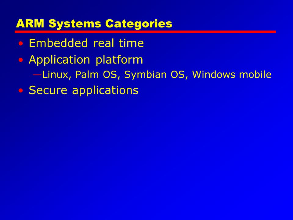 ARM Systems Categories