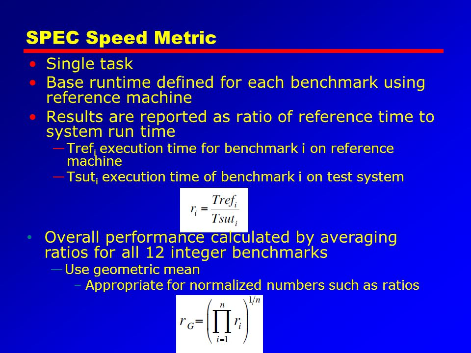 SPEC Speed Metric Single task
