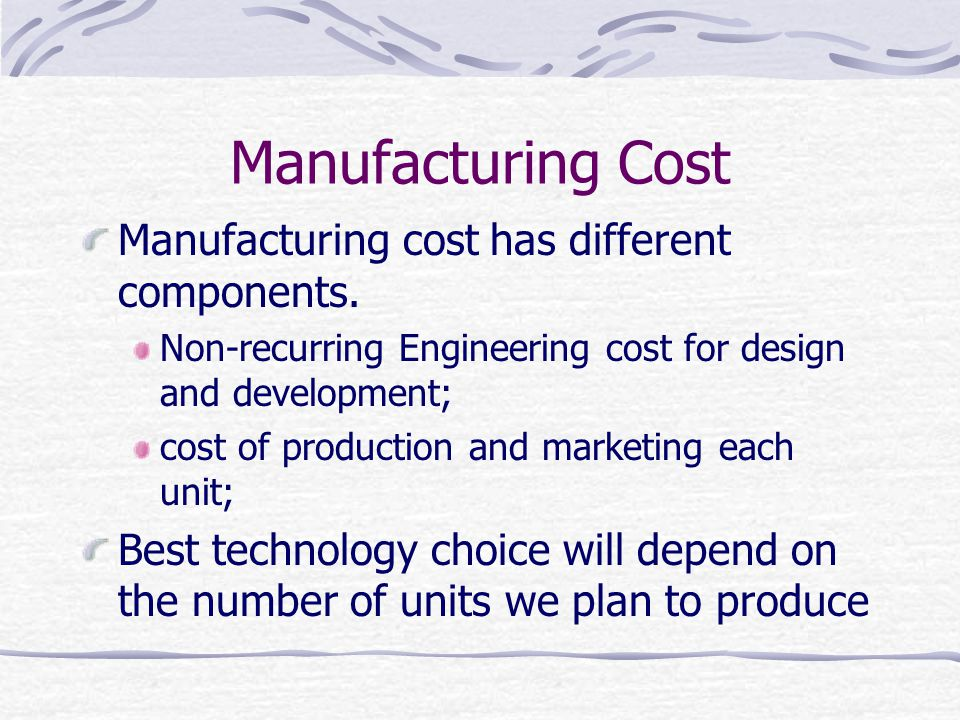 Manufacturing Cost Manufacturing cost has different components.