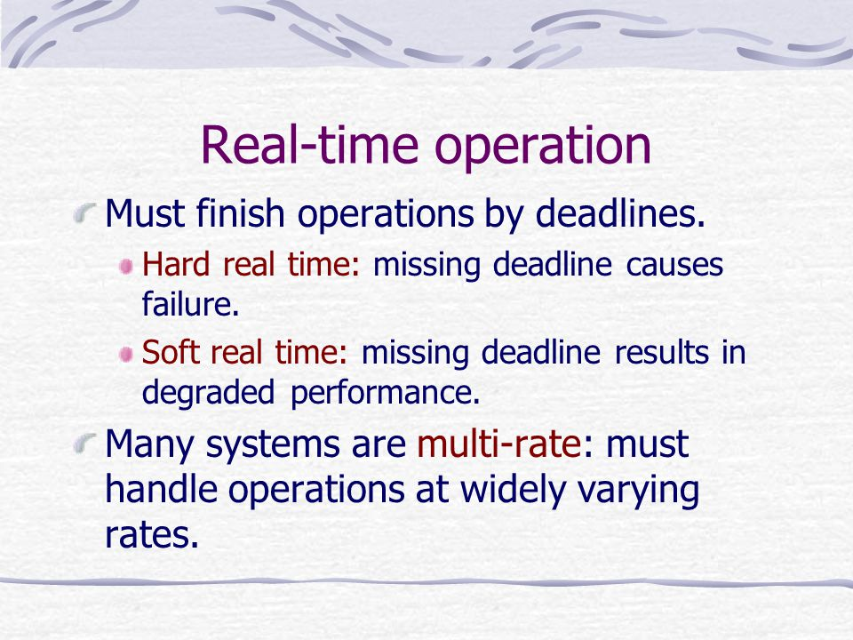 Real-time operation Must finish operations by deadlines.