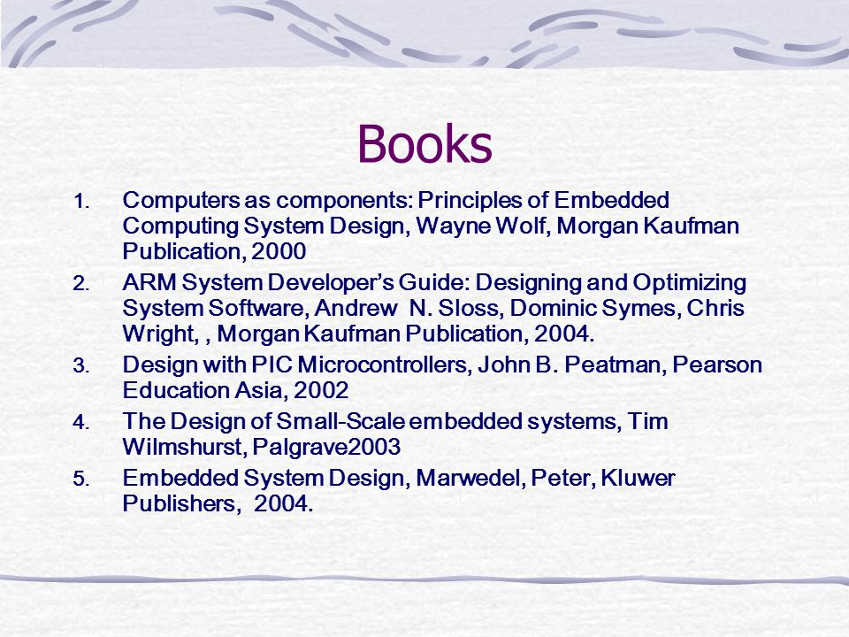 Books Computers as components: Principles of Embedded Computing System Design, Wayne Wolf, Morgan Kaufman Publication, 2000.