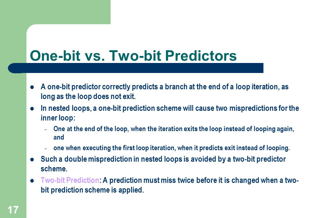 One-bit vs. Two-bit Predictors