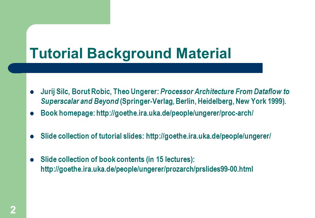 Tutorial Background Material