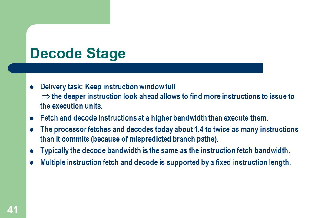 Decode Stage