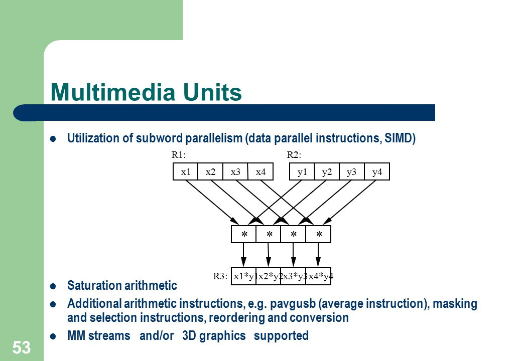 Multimedia Units Utilization of subword parallelism (data parallel instructions, SIMD) Saturation arithmetic.