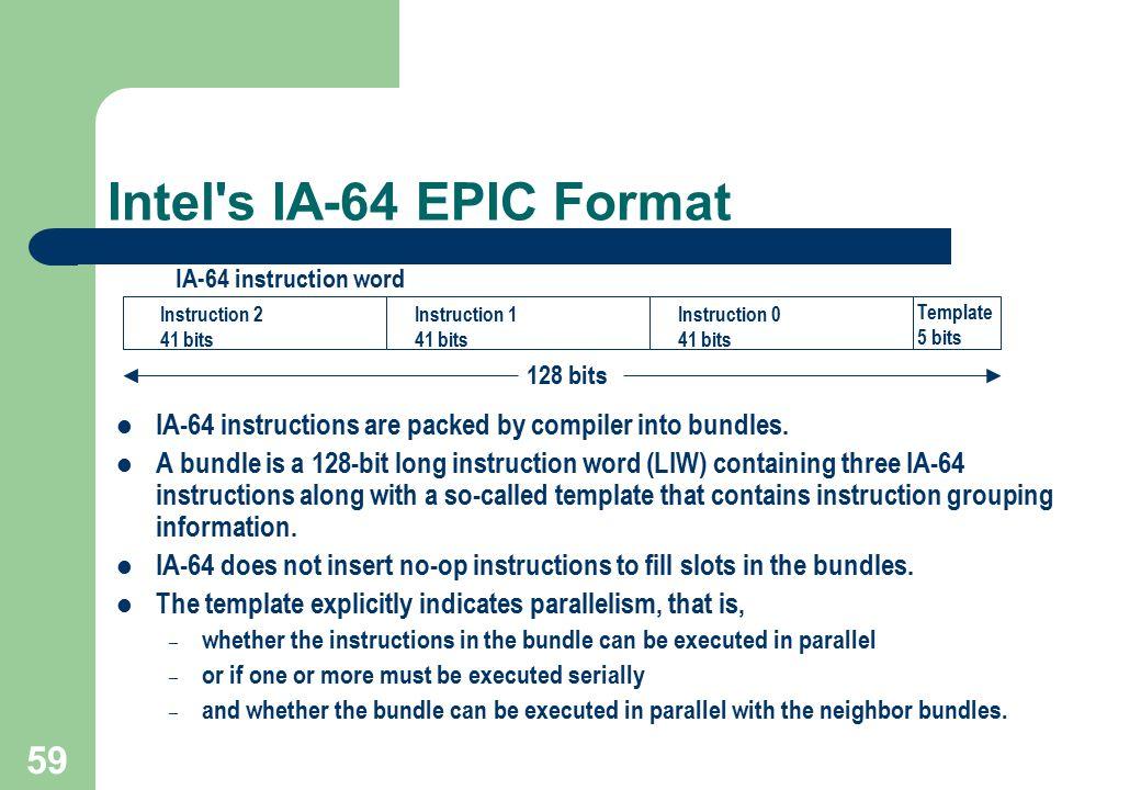 Intel s IA-64 EPIC Format Instruction 2. 41 bits. Instruction 1. Instruction 0. Template. 5 bits.