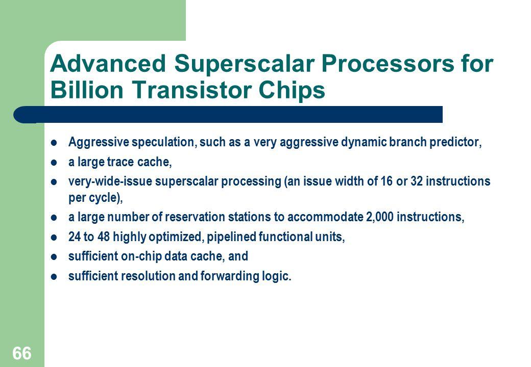 Advanced Superscalar Processors for Billion Transistor Chips