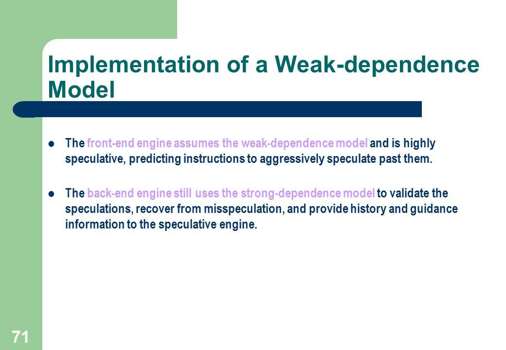 Implementation of a Weak-dependence Model