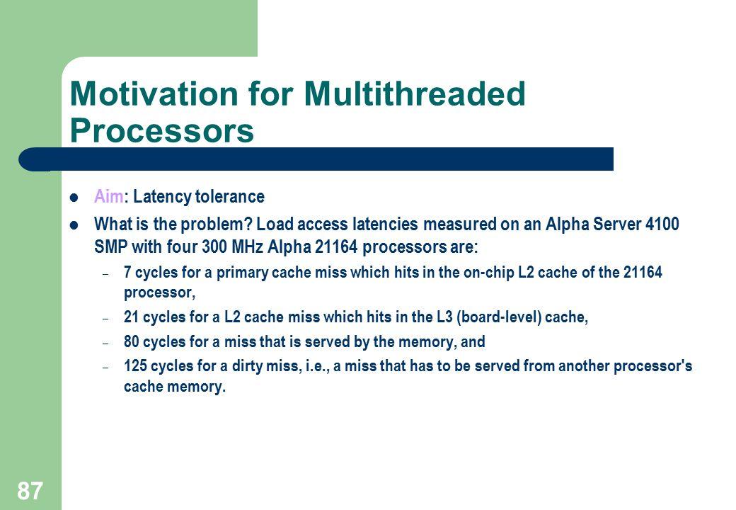 Motivation for Multithreaded Processors