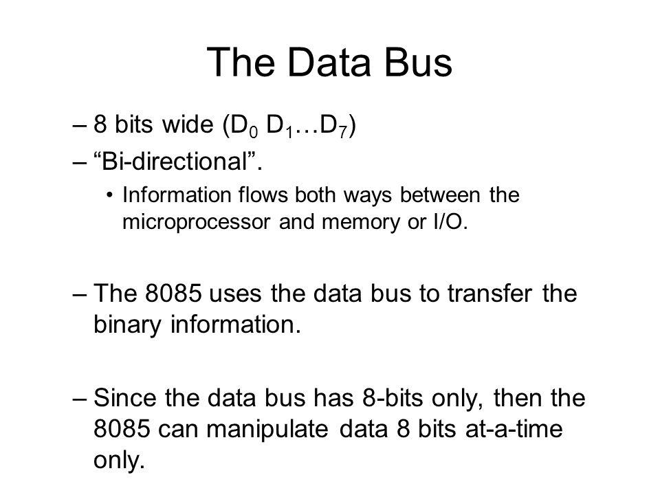 The Data Bus 8 bits wide (D0 D1…D7) Bi-directional .
