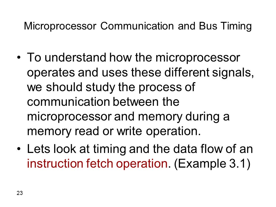 Microprocessor Communication and Bus Timing