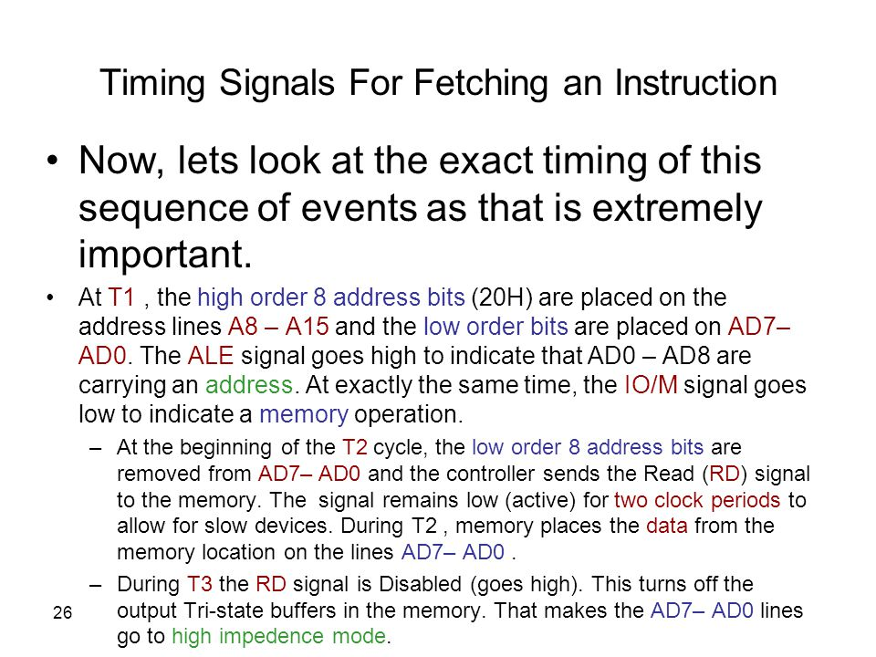 Timing Signals For Fetching an Instruction