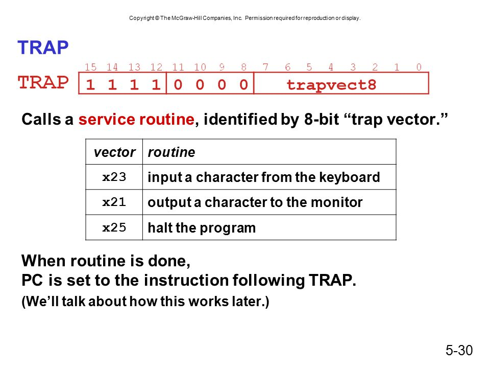 TRAP Calls a service routine, identified by 8-bit trap vector.