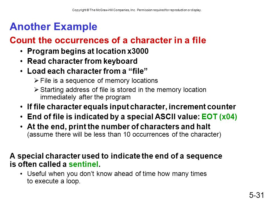 Another Example Count the occurrences of a character in a file