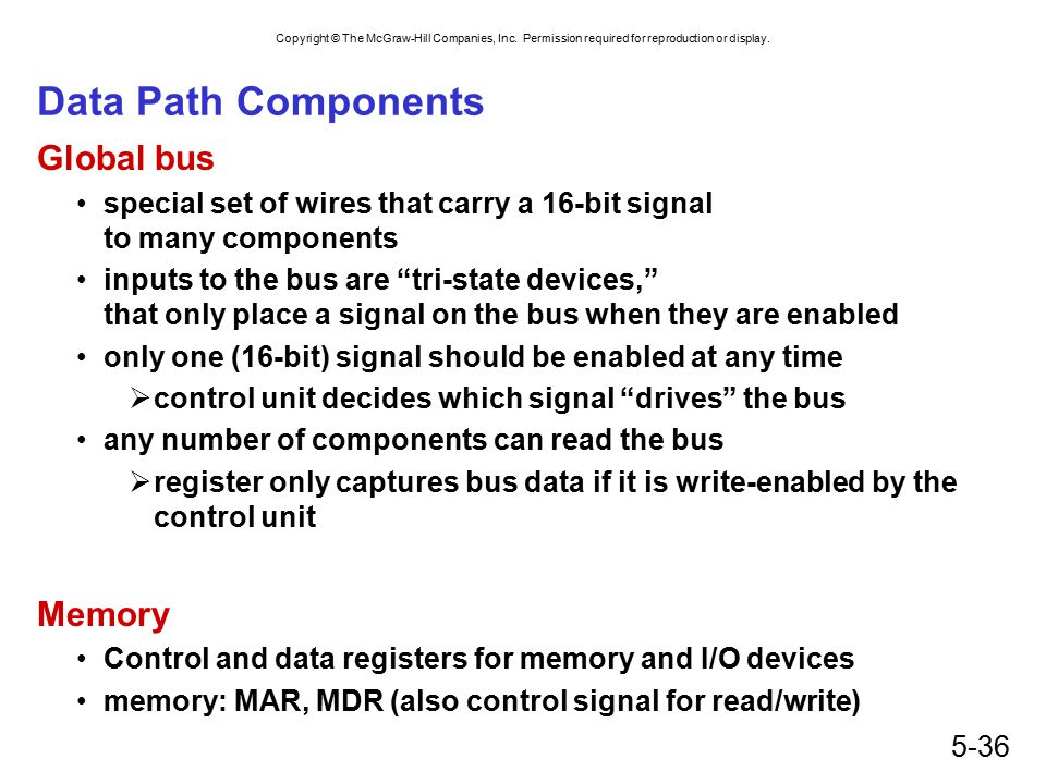 Data Path Components Global bus Memory