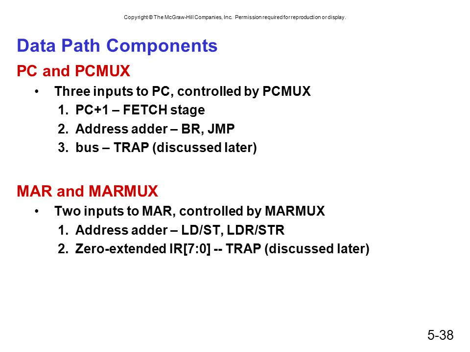 Data Path Components PC and PCMUX MAR and MARMUX