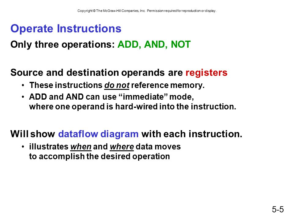 Operate Instructions Only three operations: ADD, AND, NOT