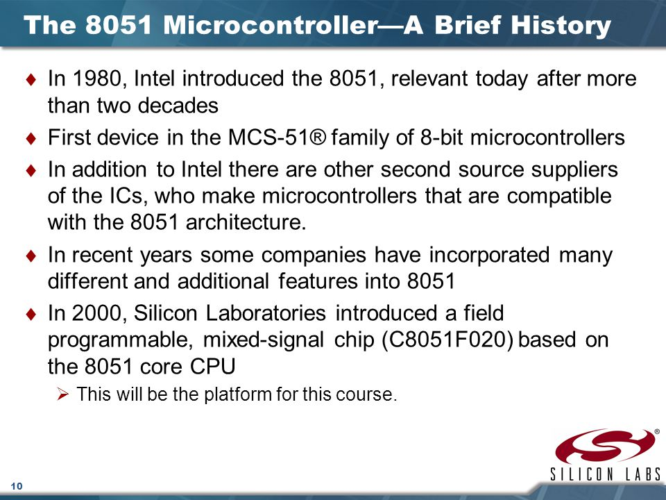 The 8051 Microcontroller—A Brief History