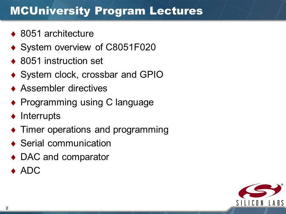 MCUniversity Program Lectures