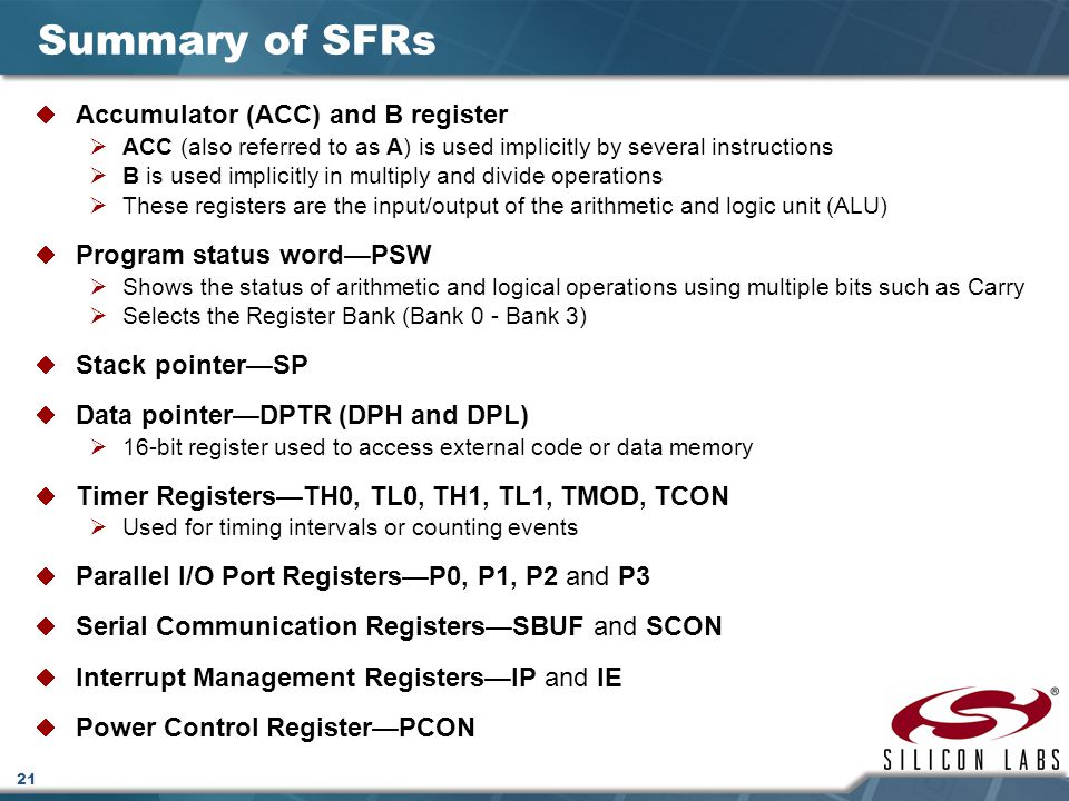 Summary of SFRs Accumulator (ACC) and B register