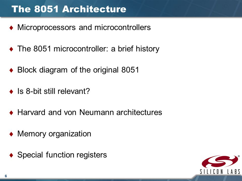 The 8051 Architecture Microprocessors and microcontrollers