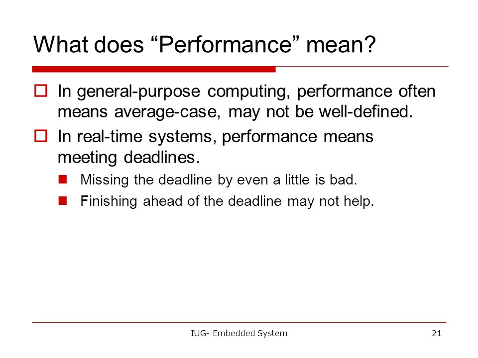 What does Performance mean
