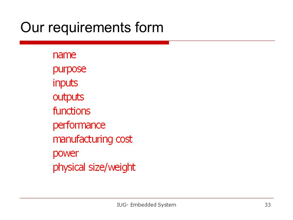 Our requirements form IUG- Embedded System