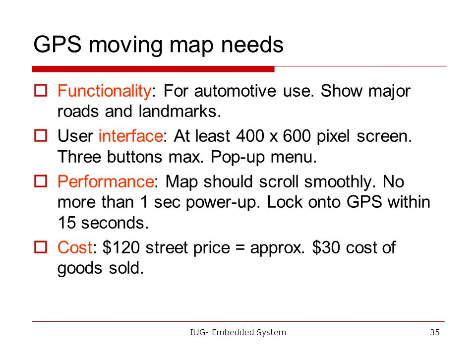 GPS moving map needs Functionality: For automotive use. Show major roads and landmarks.