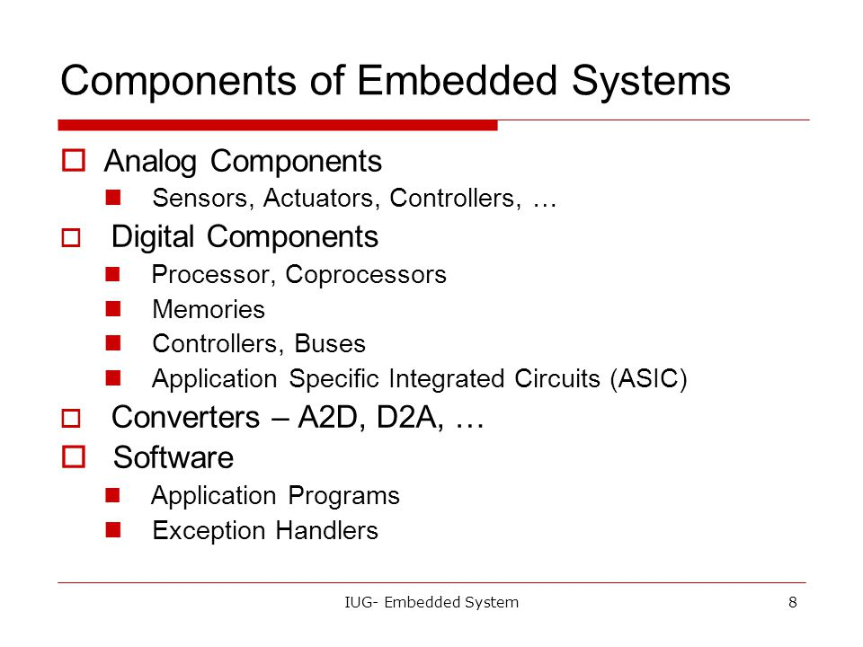 Components of Embedded Systems