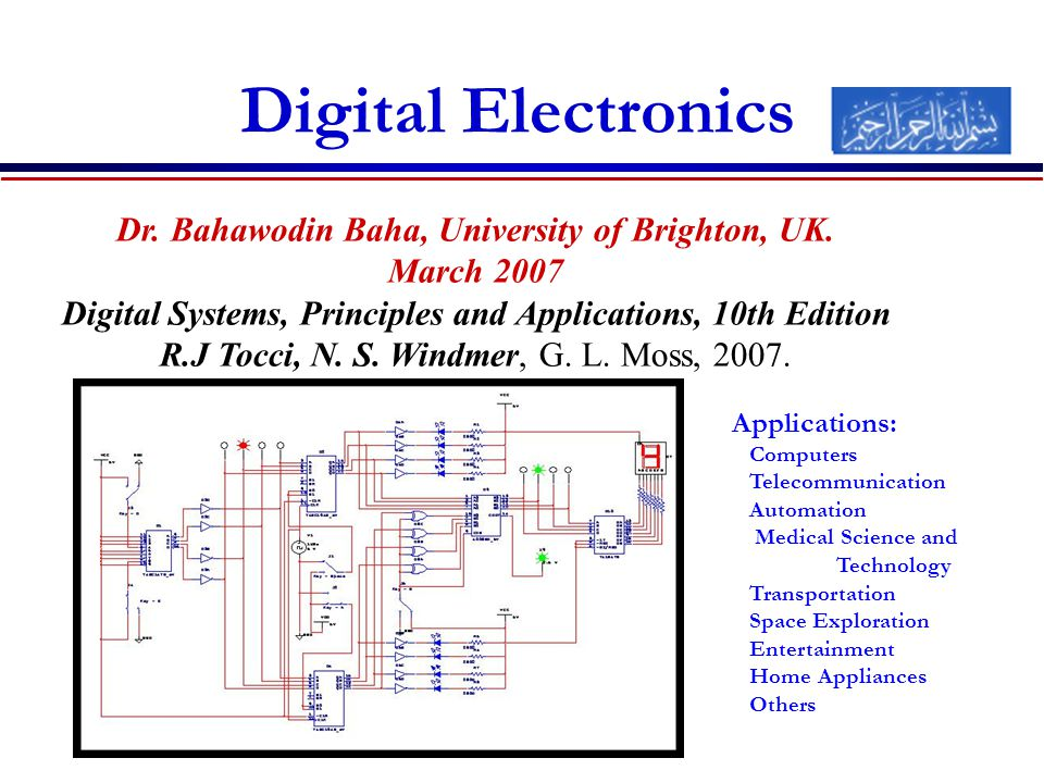 Digital Electronics Dr. Bahawodin Baha, University of Brighton, UK.