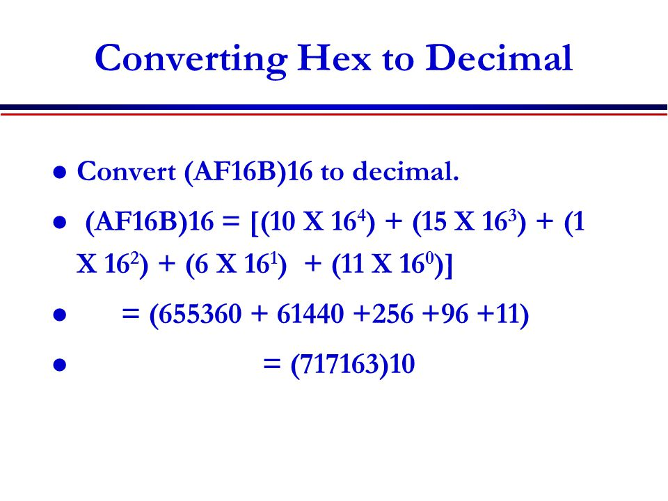 Converting Hex to Decimal