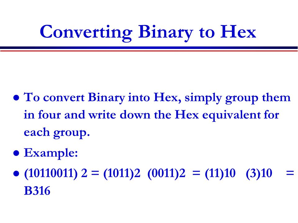 Converting Binary to Hex