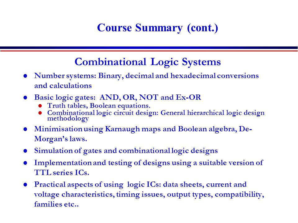 Combinational Logic Systems