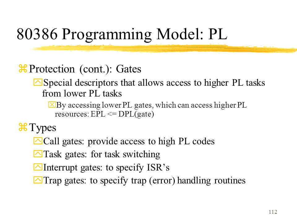 80386 Programming Model: PL Protection (cont.): Gates Types