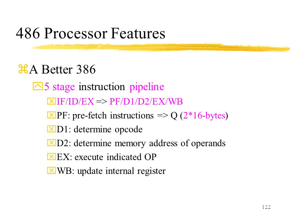 486 Processor Features A Better 386 5 stage instruction pipeline