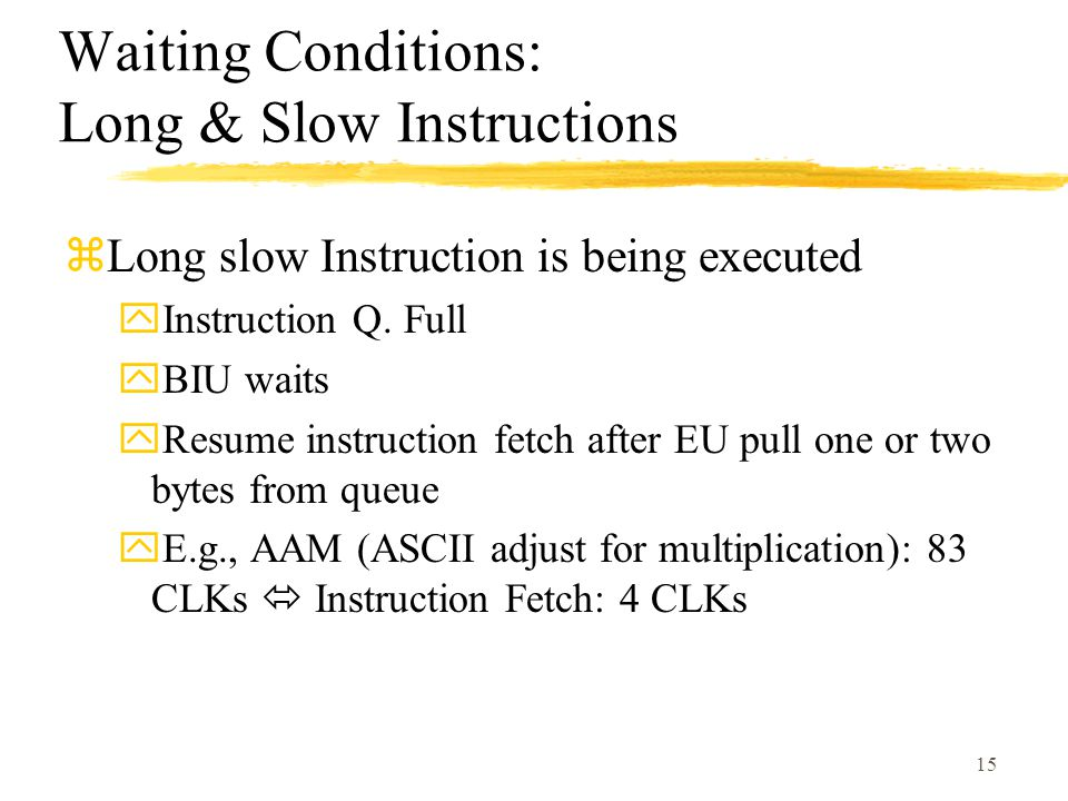 Waiting Conditions: Long & Slow Instructions