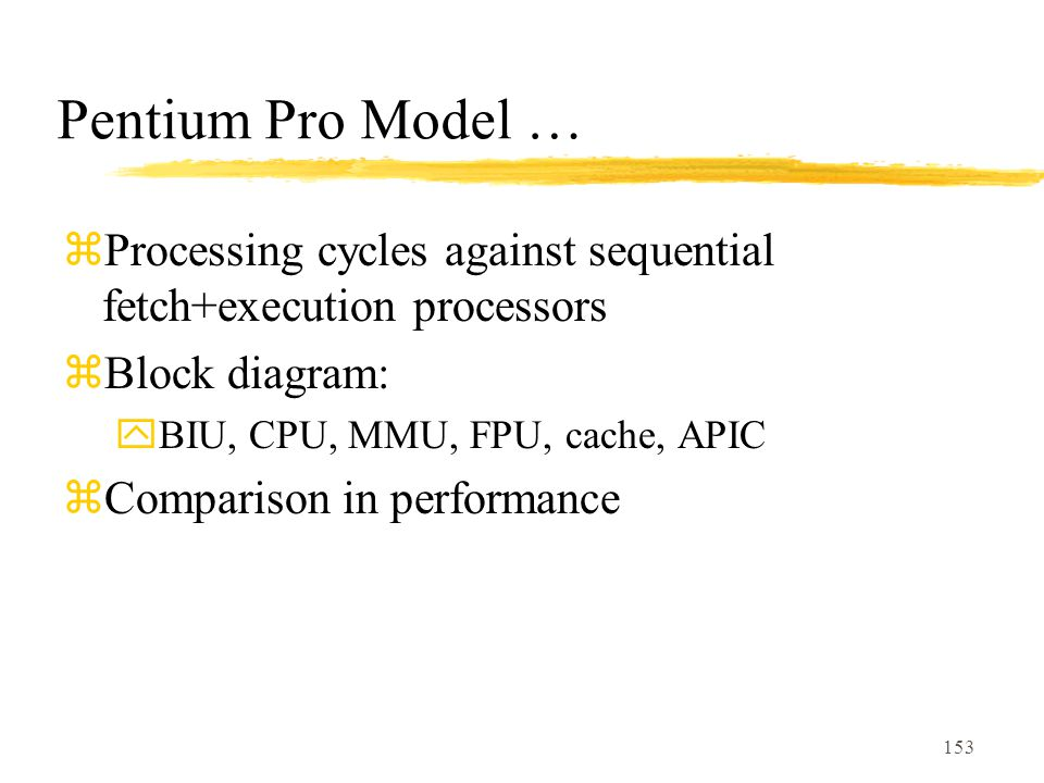 Pentium Pro Model … Processing cycles against sequential fetch+execution processors. Block diagram: