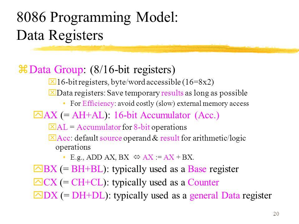 8086 Programming Model: Data Registers