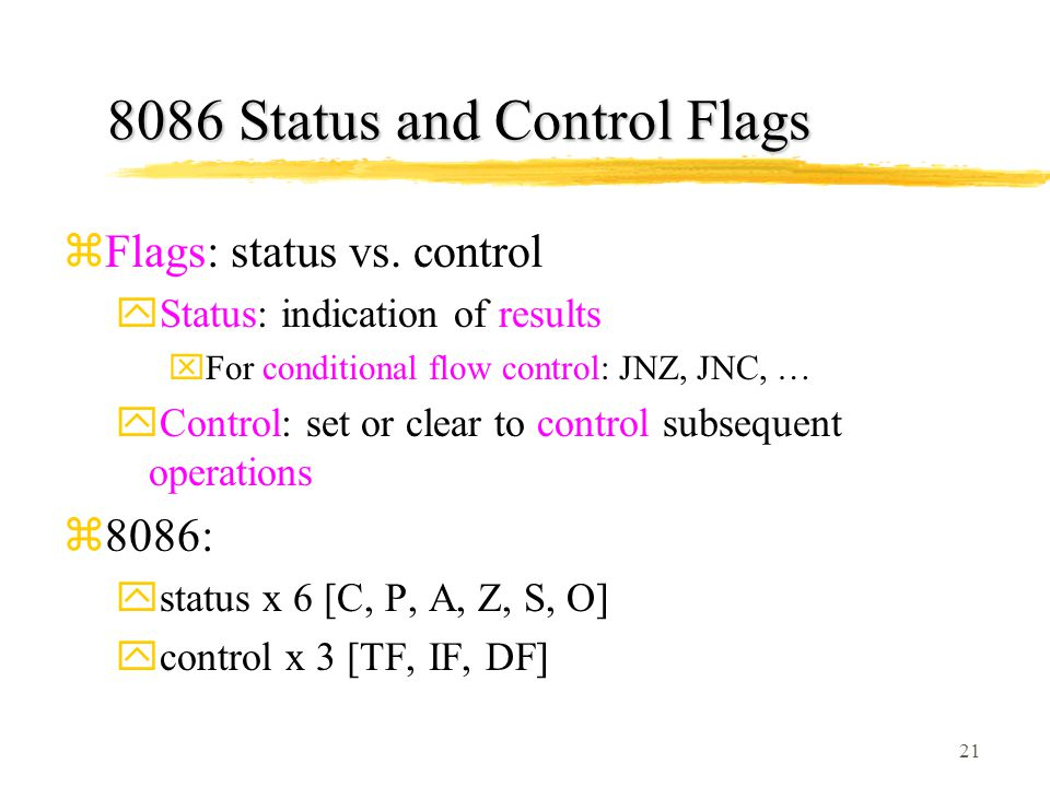 8086 Status and Control Flags