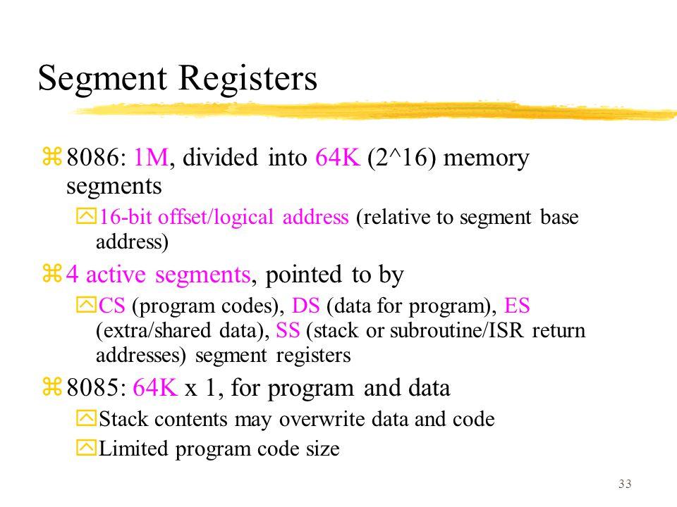 Segment Registers 8086: 1M, divided into 64K (2^16) memory segments