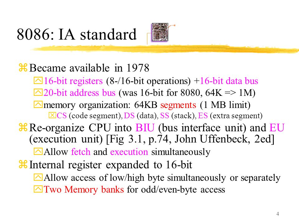 8086: IA standard Became available in 1978