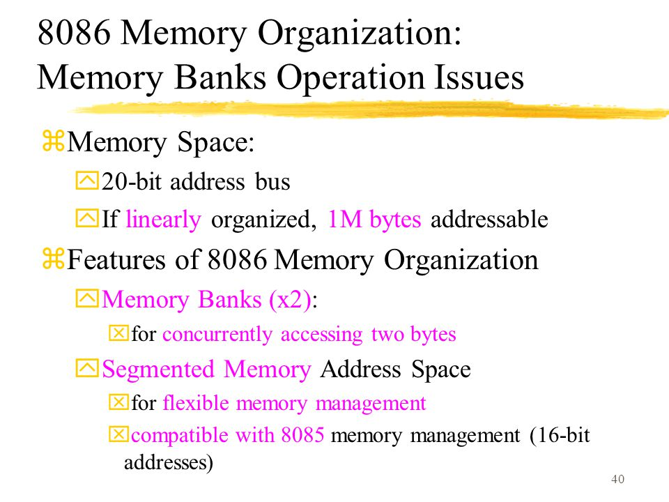 8086 Memory Organization: Memory Banks Operation Issues