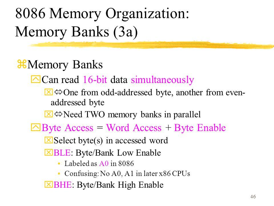 8086 Memory Organization: Memory Banks (3a)