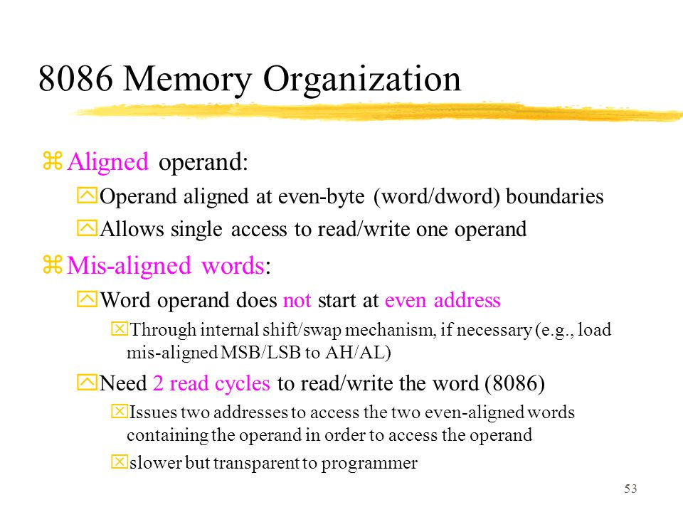 8086 Memory Organization Aligned operand: Mis-aligned words: