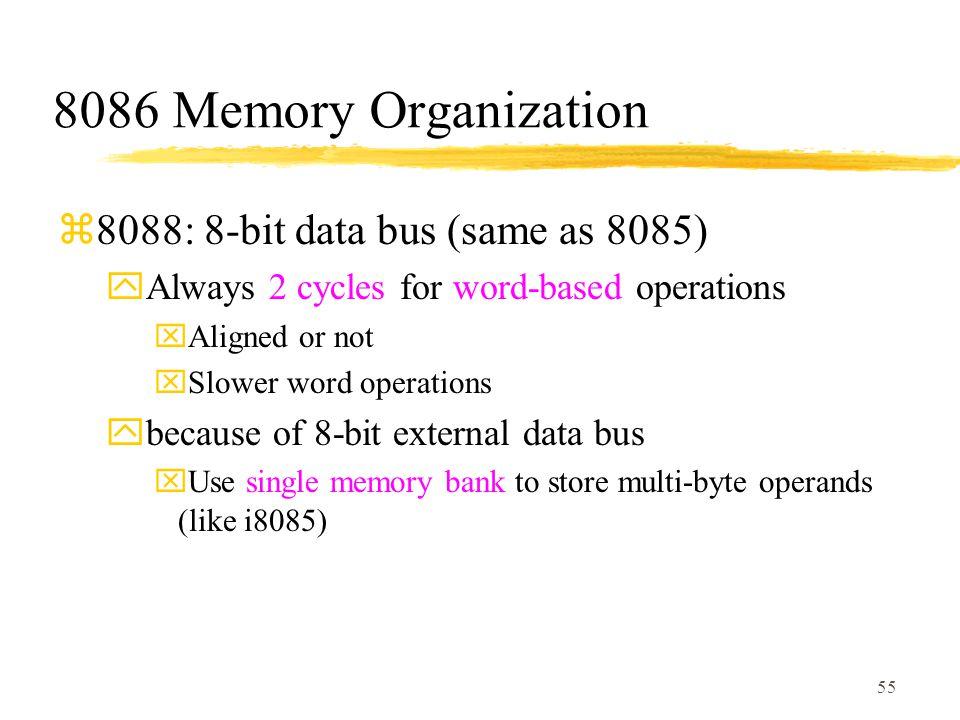 8086 Memory Organization 8088: 8-bit data bus (same as 8085)