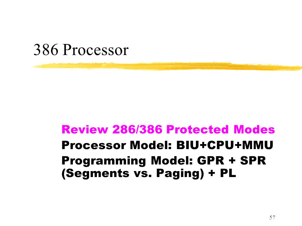 386 Processor Review 286/386 Protected Modes