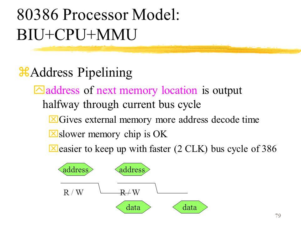 80386 Processor Model: BIU+CPU+MMU