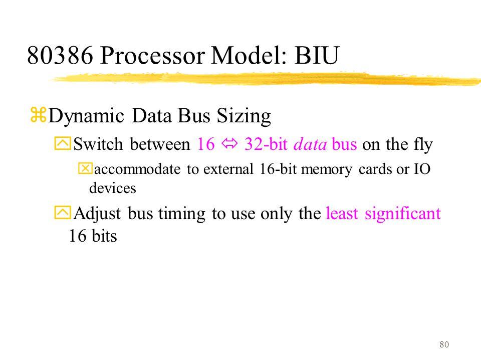 80386 Processor Model: BIU Dynamic Data Bus Sizing