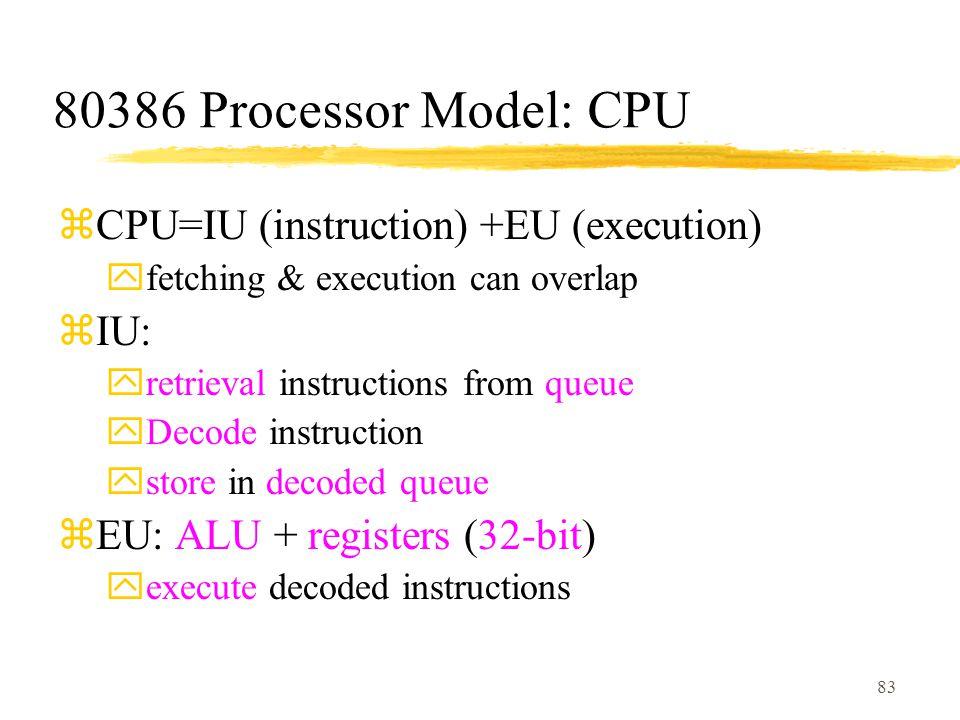 80386 Processor Model: CPU CPU=IU (instruction) +EU (execution) IU: